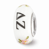 Sterling Silver Reflections White Hand Painted Delta Zeta Glass Bead