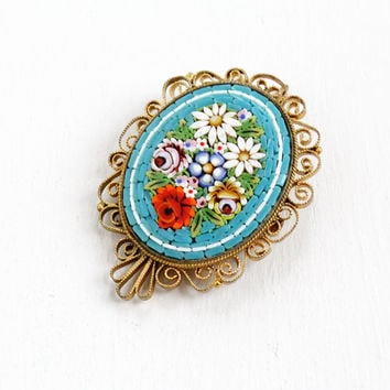 Antique Micro Mosaic Flower Filigree Pin - Brass Colorful Teal Glass Tesserae Jewelry Brooch Pendant Hallmarked FAP Fabbrica Angelo Pessar