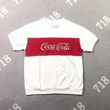 """""""Coca-Cola"""" Unisex Casual Retro Multicolor Letter Embroidery Short Sleeve Couple T-shirt Top Tee"""