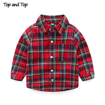 Autumn Long Sleeve Boys Shirts Casual Turn-down Collar Plaid Cotton Blouses for Children Casual Kids Clothes