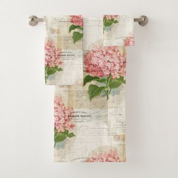 Vintage Pink Hydrangea French Towel Set