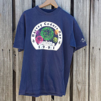Vintage JERSEY SHORE Long Beach Island T-Shirt - 1991 Harvey Cedars Day - Neon