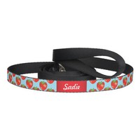 Strawberries Pattern With Dog's Name On Blue Pet Lead
