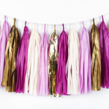 Golden Plum Tassel Garland - Plum, Purple, Lavender, Gold Tissue Paper Tassel Garland - Party Decoration // Wedding Decor // Nursery Decor