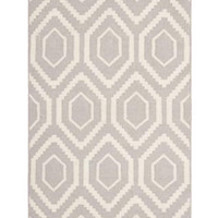 Safavieh Moroccan Dhurrie Gray/Ivory Pure Wool Rug (3 x 5 ) from Overstock.com | BHG.com Shop