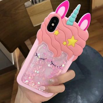3D Glitter Cute unicorn Rubber Case For iPhone 6 6S 7 Plus Soft Silicon Cartoon horse Cover Back For iPhone 5 5S X 8 plus 7 6 S