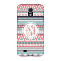Samsung Galaxy cases, Samsung Galaxy s4 case,Coral Aztec Samsung S4 Monogrammed case, Monogram samsung cases, Galaxy s3/Note 2 cases