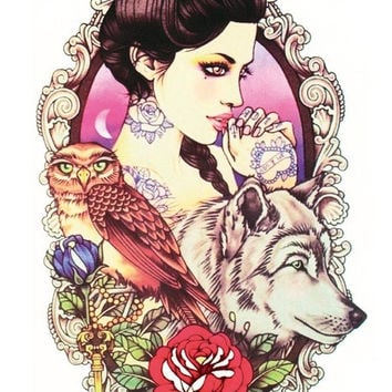 LC2808 21*15cm Large Tattoo Sticker Sexy Girl Owl Wolf Designs Temporary Tattoo Rose Flower New Arrival 2015 Fashion