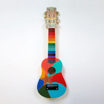 Hand Painted Rainbow Star Small Guitar