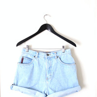 light wash denim high waisted shorts / 90s nevada roll cuff jeans cut offs medium
