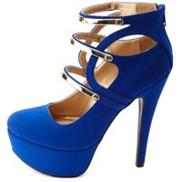 Qupid Gold-Plated Strappy Platform Pumps by Charlotte Russe - Cobalt