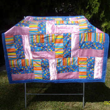 Satin Zig Zag Striped Quilt  (Rail Fence pattern) with blue plaid flannel back  measures ~42 inches W x 41 inches L