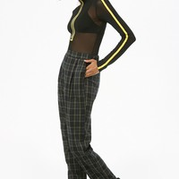 Plaid Cuffed-Leg Pants