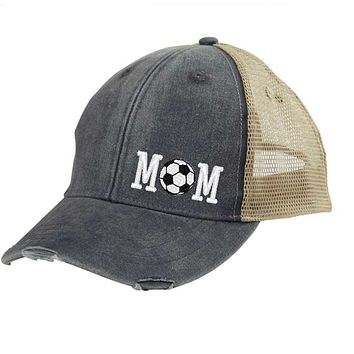 Soccer Mom Distressed Snapback - off-center
