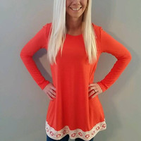 Crochet Trim Tunic Top
