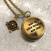 Mini Not All Those Who Wander Are Lost Working Compass, Gold Plate Open Face Compass, Compass, Travel Gift