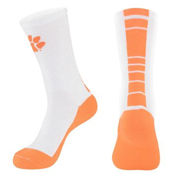 Mojo Clemson Tigers Champ 1/2-Cushion Performance Crew Socks - Youth, Size: 7-9 (White)