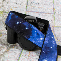 Space dSLR Camera Strap, Stars, Blue, SLR, Pocket, Galaxy, Canon strap, Nikon strap, Photographer Gift, Neck strap, Mens camera strap,  60