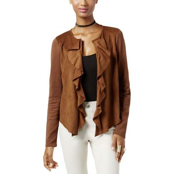 INC Womens Faux Suede Cascade Ruffle Cardigan Sweater