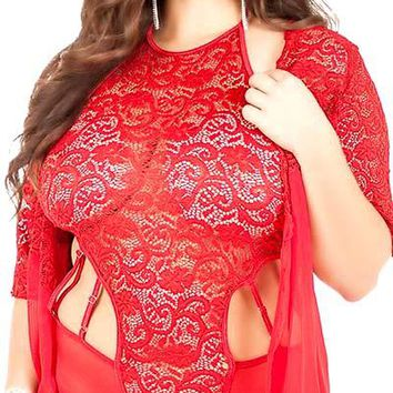 Plus Size Clermont High Neck Jacquard Lace Strappy Cut-Out Teddy and Robe