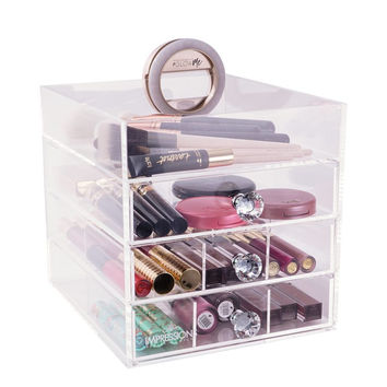 Four Tier Petit Acrylic Makeup Organizer with Open Top