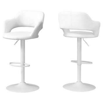 Barstool - White / White Metal Hydraulic Lift