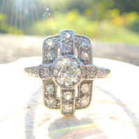 Stunning Art Deco Diamond Ring, Fiery Old European Cut Diamond, Great Geometric Design and Tiny Flower Blossoms, appr .75 ctw, Circa 1930s
