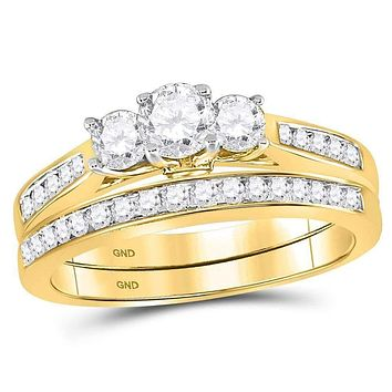 14kt Yellow Gold Womens Round Diamond Bridal 3-Stone Wedding Engagement Ring Band Set 1.00 Cttw