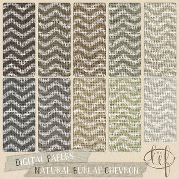 Burlap Chevron Digital Paper Pack / Jute / Canvas / Linen rustic backgrounds soft natural colors for cards backdrops wedding design and more