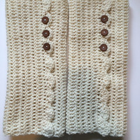 Hand Crocheted Leg Warmers in Cream with decorative brown buttons and wavy shell seam for Women