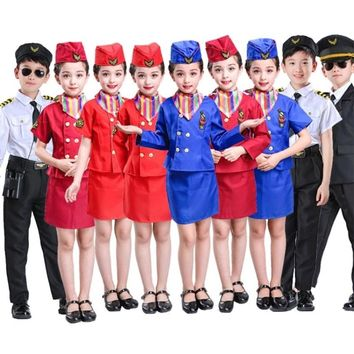 Children Air Force Less Clothing Pilot Uniforms Boys Girls Airline Costumes Stewardess Flight Service Cosplay Performance Set