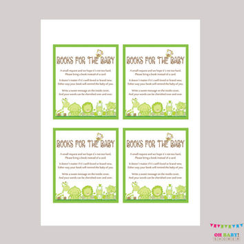 Book Request Baby Shower Bring a Book Instead of a Card Invitation Inserts - Instant Download Green Book Request Safari Baby Shower BS0001-G