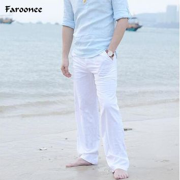 Faroonee New High quality Men's Summer Casual Pants Natural Cotton Linen Trousers White Linen Elastic Waist Straight Man's Pants