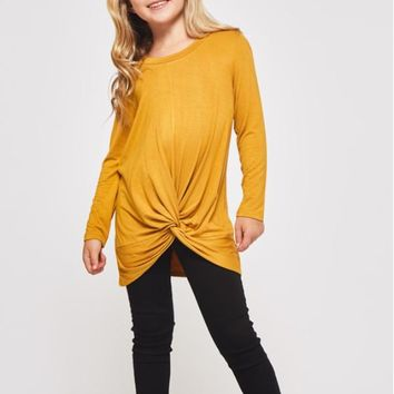 Girls Solid Knotted Top