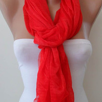Red Scarf Tulle Fabric Seamless Shawl by SwedishShop on Etsy