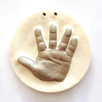 Custom Personalized Handprint Ornament for Baby, Mom, Dad  -   Handprint Keepsake - Hand Print Art - Gift For Baby And Mom - Ceramic Print