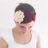Red, Cream Knitted Floral Turban Headband, Stretchy Twist Headband, Fashion Hair Accessories, Ear Warmer, Sweatband, Turband, Teen Gift Idea