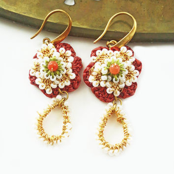 Gold Lace EarringsDainty Crochet Autumn Harvest Fall by sukran