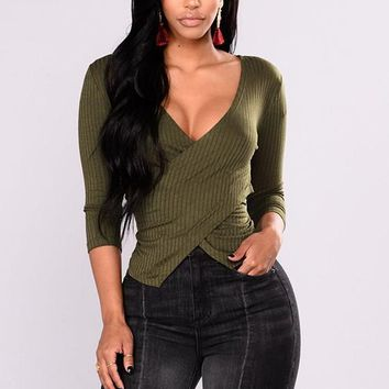 Green Plunging Neckline Long Sleeve Fashion Blouse