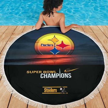 Pittsburgh Steelers Super Bowl Champions Round Beach Blanket|Picnic Blanket Father's Day Gift