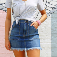 Square Pocket Frayed Denim Skirt