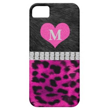 Monogram, Black, Pink Leopard print, iPhone 5 Case
