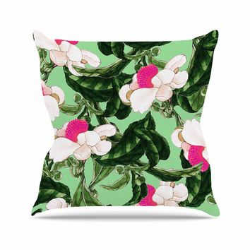 """83 Oranges """"Royal Florals"""" Green Pink Illustration Outdoor Throw Pillow"""