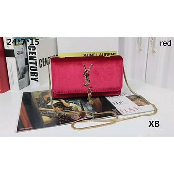YSL Yves Saint Laurent Counter Women's Fashionable Chain Bag F-LLBPFSH red