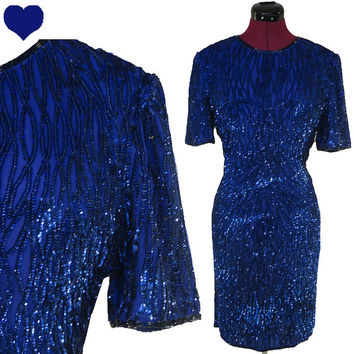 Dress Vintage 80s Royal BLUE Sequin Beaded Cocktail Party Dress M L GLAM Diva Sheath