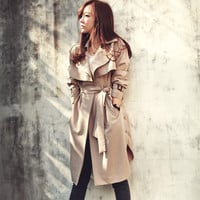 Fashion Long Trench Coat For Women Autumn Spring Trench Coats Outerwear Loose Coat  Gabardina Mujer Trench HO851770