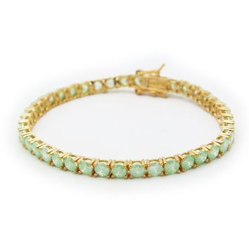 Fronay Co .925 Sterling Silver Green Ice Tennis Bracelet dipped in Gold, 7""