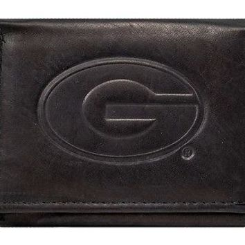 Georgia Bulldogs NCAA Embossed Logo Black Leather Trifold Wallet