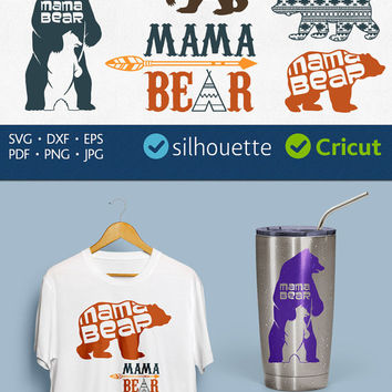 Mama Bear Svg Mother Bear Svg Bear Family t-shirt cutting Design for Cricut download Clip art Image Silhouette dxf png pdf eps decal files