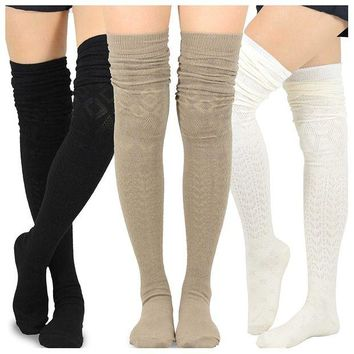 ONETOW Teehee Women's Fashion Extra Long Cotton Thigh High Socks - 3 Pair Pack
